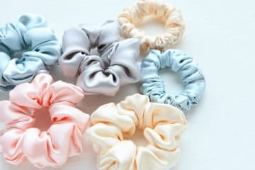 multiple scrunchies on a table