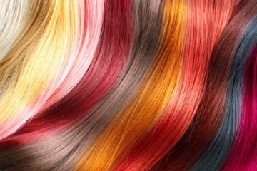 Multiple hair strands with different semi-permanent hair colors