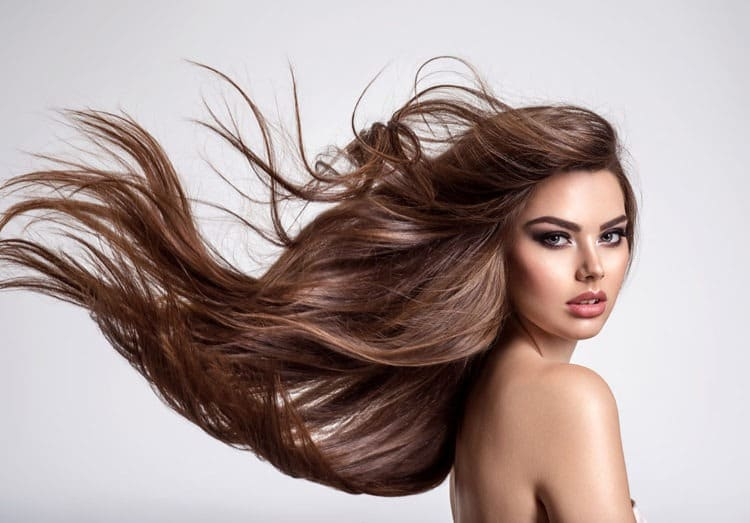 Attractive girl with long died hair